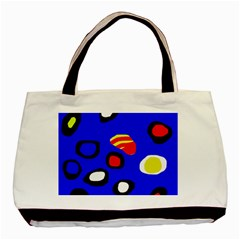 Blue Pattern Abstraction Basic Tote Bag by Valentinaart