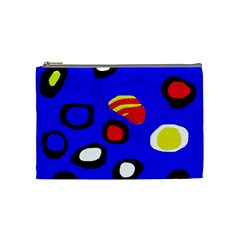 Blue Pattern Abstraction Cosmetic Bag (medium)  by Valentinaart