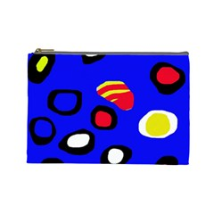 Blue Pattern Abstraction Cosmetic Bag (large)  by Valentinaart