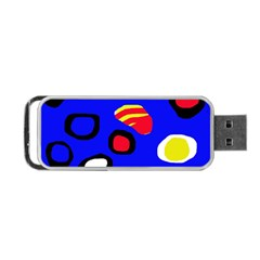 Blue Pattern Abstraction Portable Usb Flash (two Sides) by Valentinaart