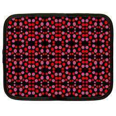 Dots Pattern Red Netbook Case (large) by BrightVibesDesign