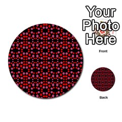 Dots Pattern Red Multi Purpose Cards (round)  by BrightVibesDesign