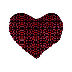 Dots Pattern Red Standard 16  Premium Flano Heart Shape Cushions by BrightVibesDesign