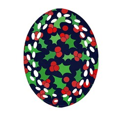 Holly Jolly Christmas Oval Filigree Ornament (2 Side)