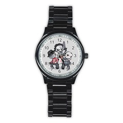 Horror Trifecta Plushie  Stainless Steel Round Watch by lvbart