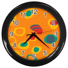 Orange Abstraction Wall Clocks (black) by Valentinaart