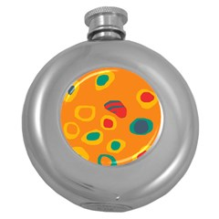 Orange Abstraction Round Hip Flask (5 Oz) by Valentinaart