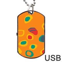 Orange Abstraction Dog Tag Usb Flash (one Side) by Valentinaart