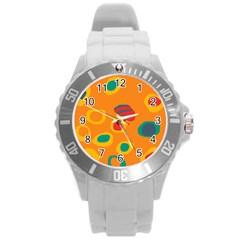 Orange Abstraction Round Plastic Sport Watch (l) by Valentinaart