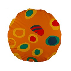 Orange Abstraction Standard 15  Premium Round Cushions by Valentinaart