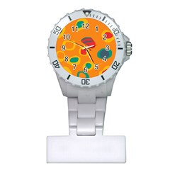 Orange Abstraction Plastic Nurses Watch by Valentinaart