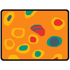 Orange Abstraction Double Sided Fleece Blanket (large)  by Valentinaart