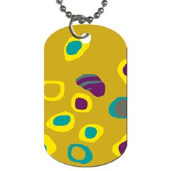 Yellow Abstraction Dog Tag (two Sides) by Valentinaart