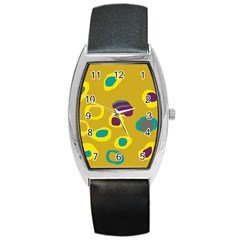 Yellow Abstraction Barrel Style Metal Watch by Valentinaart