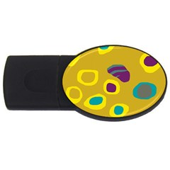 Yellow Abstraction Usb Flash Drive Oval (4 Gb)  by Valentinaart