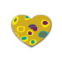Yellow Abstraction Heart Coaster (4 Pack)  by Valentinaart
