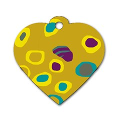 Yellow abstraction Dog Tag Heart (One Side)