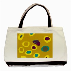 Yellow Abstraction Basic Tote Bag (two Sides) by Valentinaart