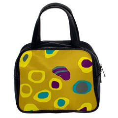 Yellow Abstraction Classic Handbags (2 Sides) by Valentinaart