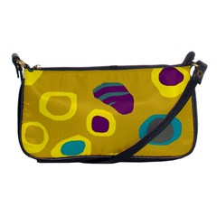 Yellow Abstraction Shoulder Clutch Bags by Valentinaart