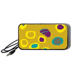 Yellow Abstraction Portable Speaker (black)  by Valentinaart