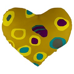 Yellow Abstraction Large 19  Premium Heart Shape Cushions by Valentinaart