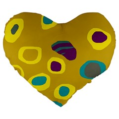 Yellow Abstraction Large 19  Premium Flano Heart Shape Cushions by Valentinaart