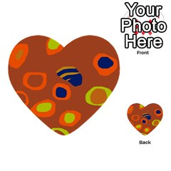 Orange Abstraction Multi Purpose Cards (heart)  by Valentinaart