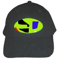 Green Abstraction Black Cap by Valentinaart