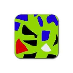 Green Abstraction Rubber Square Coaster (4 Pack)  by Valentinaart