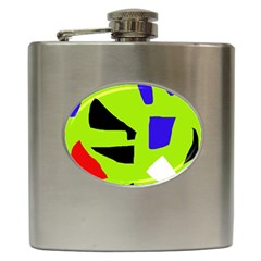 Green Abstraction Hip Flask (6 Oz) by Valentinaart
