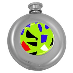 Green Abstraction Round Hip Flask (5 Oz) by Valentinaart