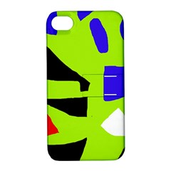 Green Abstraction Apple Iphone 4/4s Hardshell Case With Stand by Valentinaart