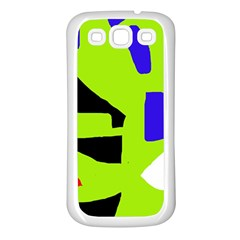 Green Abstraction Samsung Galaxy S3 Back Case (white) by Valentinaart