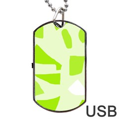 Green Abstract Design Dog Tag Usb Flash (two Sides)  by Valentinaart
