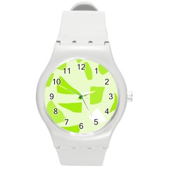 Green Abstract Design Round Plastic Sport Watch (m) by Valentinaart