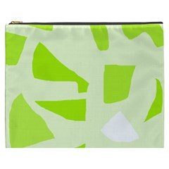 Green Abstract Design Cosmetic Bag (xxxl)  by Valentinaart