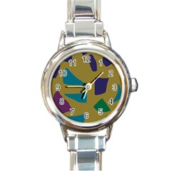 Colorful Abstraction Round Italian Charm Watch by Valentinaart