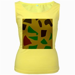 Colorful Abstraction Women s Yellow Tank Top by Valentinaart