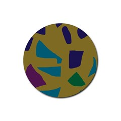 Colorful Abstraction Rubber Coaster (round)  by Valentinaart