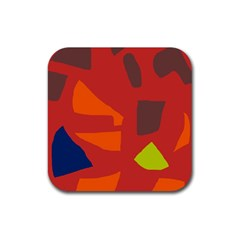 Red Abstraction Rubber Coaster (square)  by Valentinaart