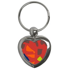 Red Abstraction Key Chains (heart)  by Valentinaart