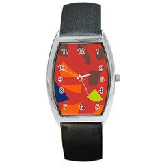 Red Abstraction Barrel Style Metal Watch by Valentinaart
