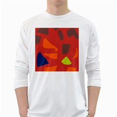Red Abstraction White Long Sleeve T Shirts by Valentinaart