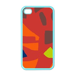 Red Abstraction Apple Iphone 4 Case (color) by Valentinaart
