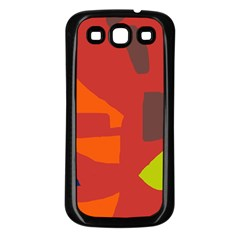 Red Abstraction Samsung Galaxy S3 Back Case (black) by Valentinaart