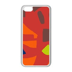 Red Abstraction Apple Iphone 5c Seamless Case (white) by Valentinaart