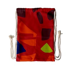 Red Abstraction Drawstring Bag (small) by Valentinaart