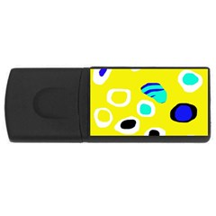 Yellow Abstract Pattern Usb Flash Drive Rectangular (4 Gb)  by Valentinaart