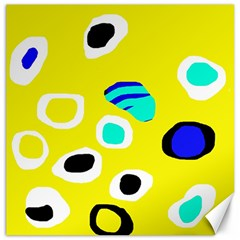 Yellow Abstract Pattern Canvas 20  X 20   by Valentinaart